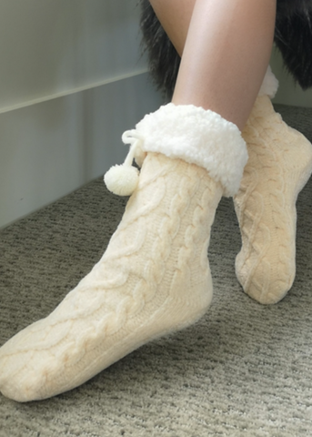 Chenille Knit Classic Slipper Socks | White