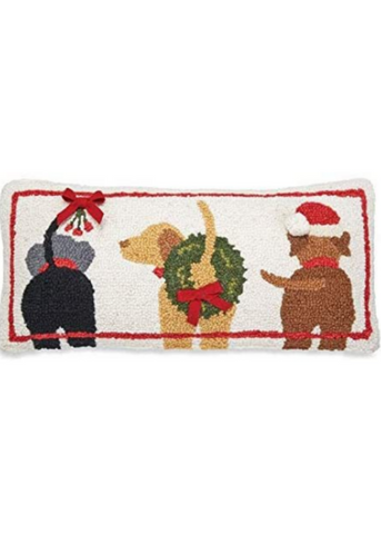 Three Dogs Hooked Wool Pillow