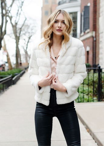 IVORY PERFECT LITTLE FAUX FUR JACKET
