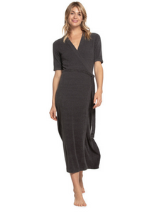 CozyChic Lite Long Sleeved Wrap Dress - Black