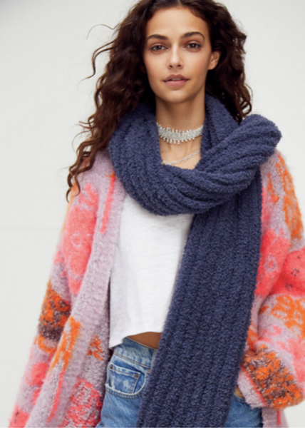 Cloud Rib Blanket Scarf - Navy
