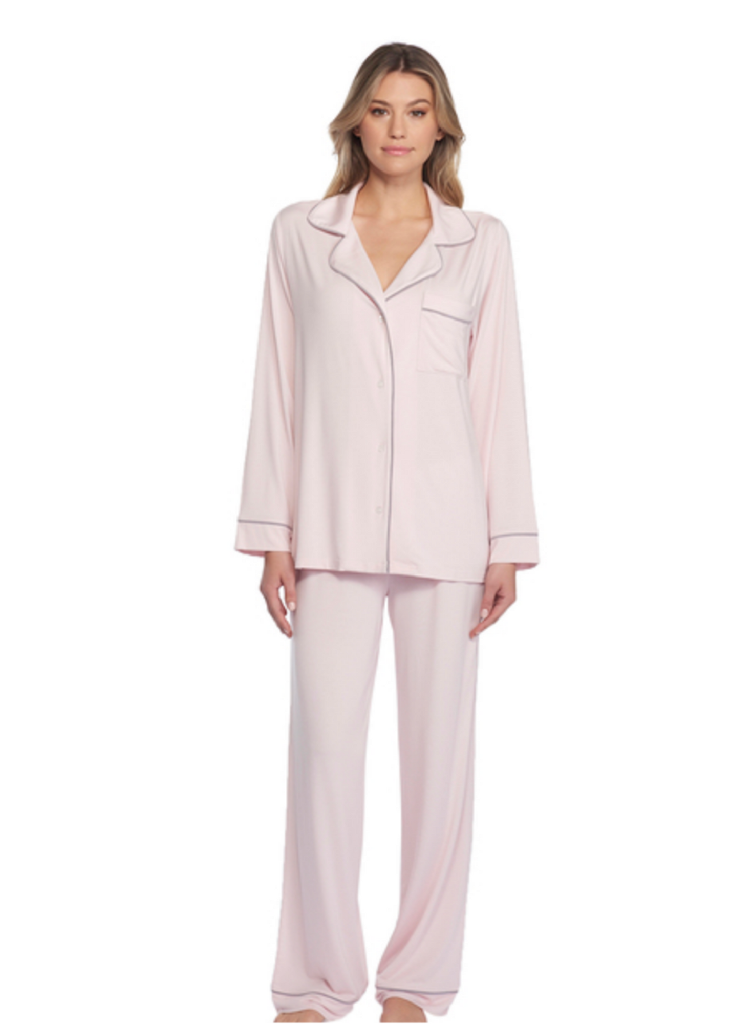 LUXE MILK JERSEY PIPED PAJAMA SET - PINK/PEWTER