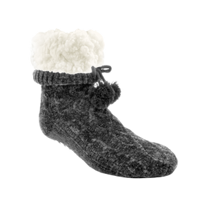 Chenille Knit Classic Slipper Socks | GREY