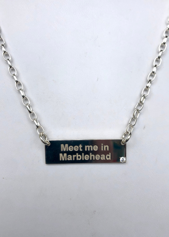 """Meet Me In Marblehead"" Bar Necklace With Diamond"