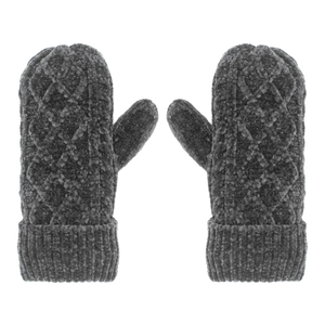 Chenille Knit Winter Mittens | Grey