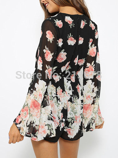 Sexy Black V-neck Floral Print Loose Romper - Knits and Mitts - 6