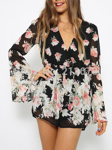 Sexy Black V-neck Floral Print Loose Romper - Knits and Mitts - 5