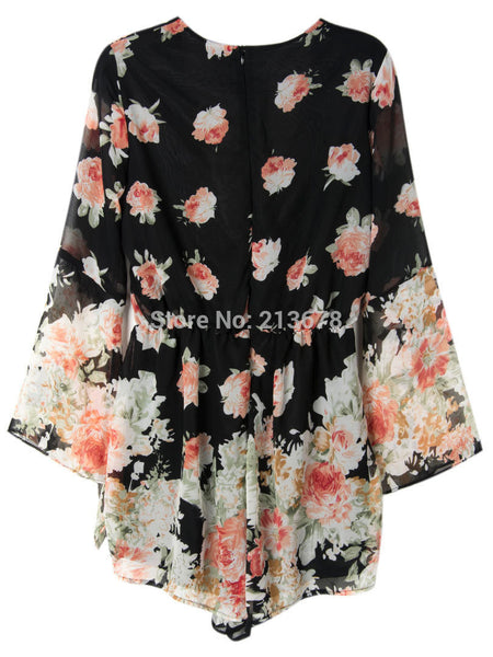 Sexy Black V-neck Floral Print Loose Romper - Knits and Mitts - 4