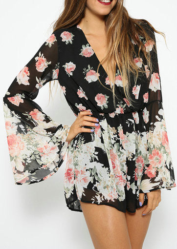 Sexy Black V-neck Floral Print Loose Romper - Knits and Mitts - 1