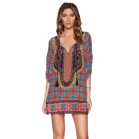 boho floral mini dress - Knits and Mitts
