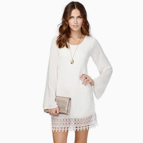 Lace Hem Chiffon Casual Dress - Knits and Mitts - 3