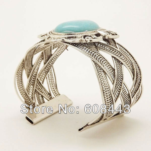 Boho silver oval  turquoise bracelet - Knits and Mitts - 2