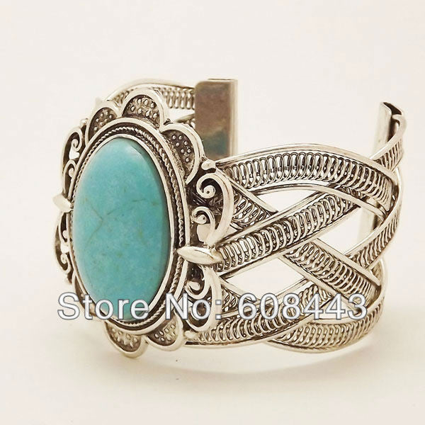 Boho silver oval  turquoise bracelet - Knits and Mitts - 3