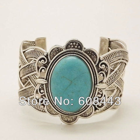 Boho silver oval  turquoise bracelet - Knits and Mitts - 1