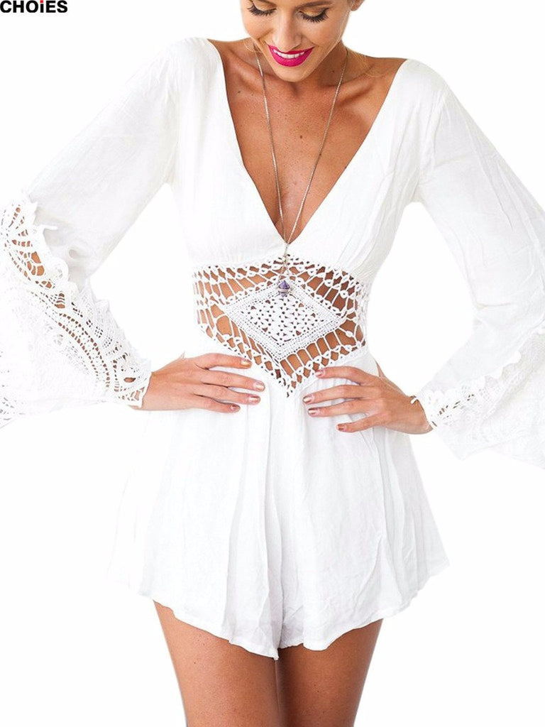 Boho deep V neck  crochet  hollow out waist Romper - Knits and Mitts - 1