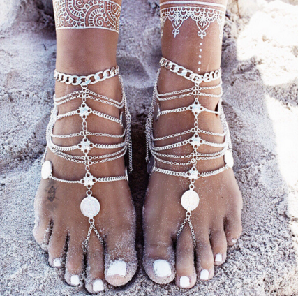 Boho Barefoot Sandals set - Knits and Mitts - 1