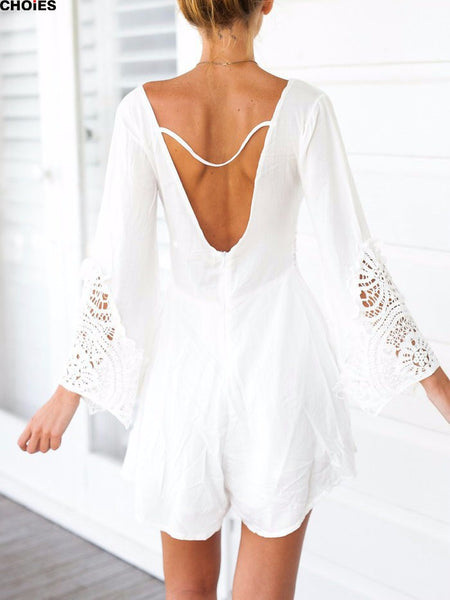 Boho deep V neck  crochet  hollow out waist Romper - Knits and Mitts - 4