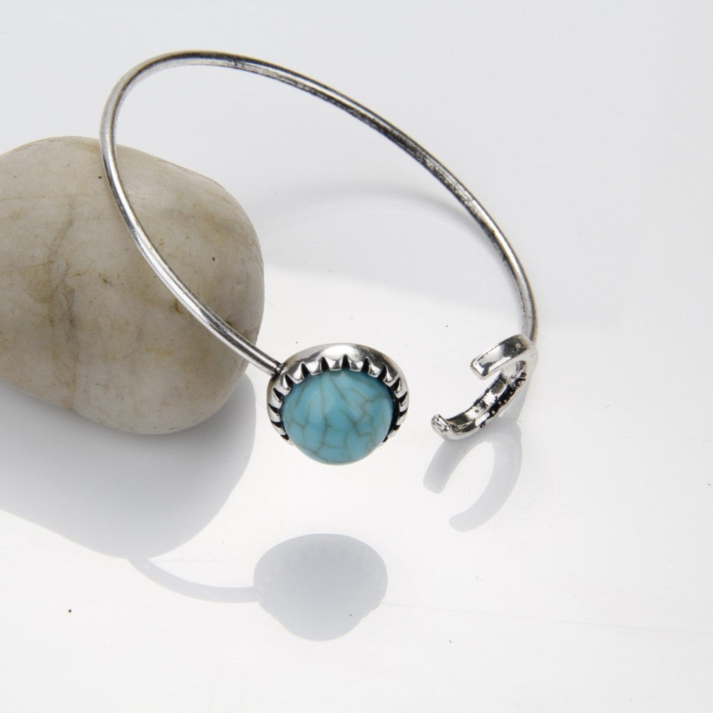 New Moon And Sun Vintage Silver Turquoise Open Bangle - Knits and Mitts