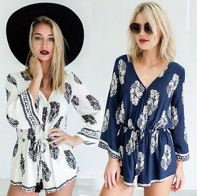 boho floral deep v neck rompers - Knits and Mitts - 2