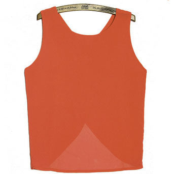 Chiffon criss cross back strap tank tops - Knits and Mitts - 2