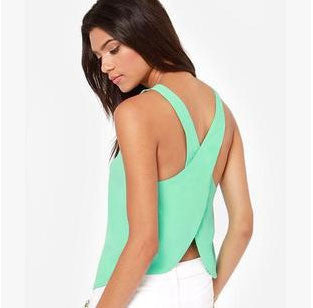 Chiffon criss cross back strap tank tops - Knits and Mitts - 5