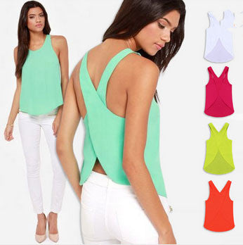 Chiffon criss cross back strap tank tops - Knits and Mitts - 1