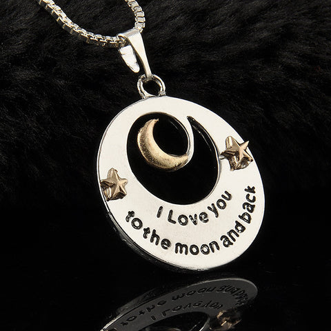 Mother and Daughter Love Moon Pendant Necklace - Knits and Mitts