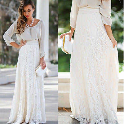Boho long lace skirt - Knits and Mitts - 1