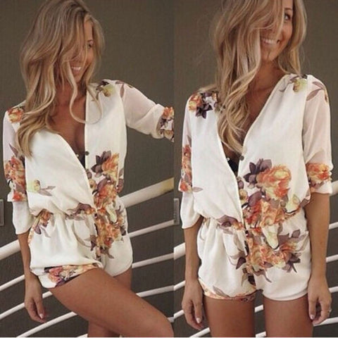 Sexy v neck  floral short romper - Knits and Mitts