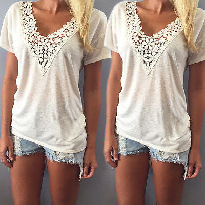 Summer casual top tee shirt lace v neck - Knits and Mitts