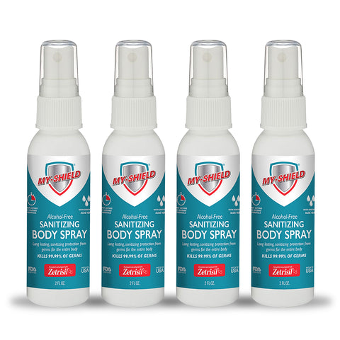 My-shield Sanitizing Body Spray 2 oz (4 Pack) with Zetrisil