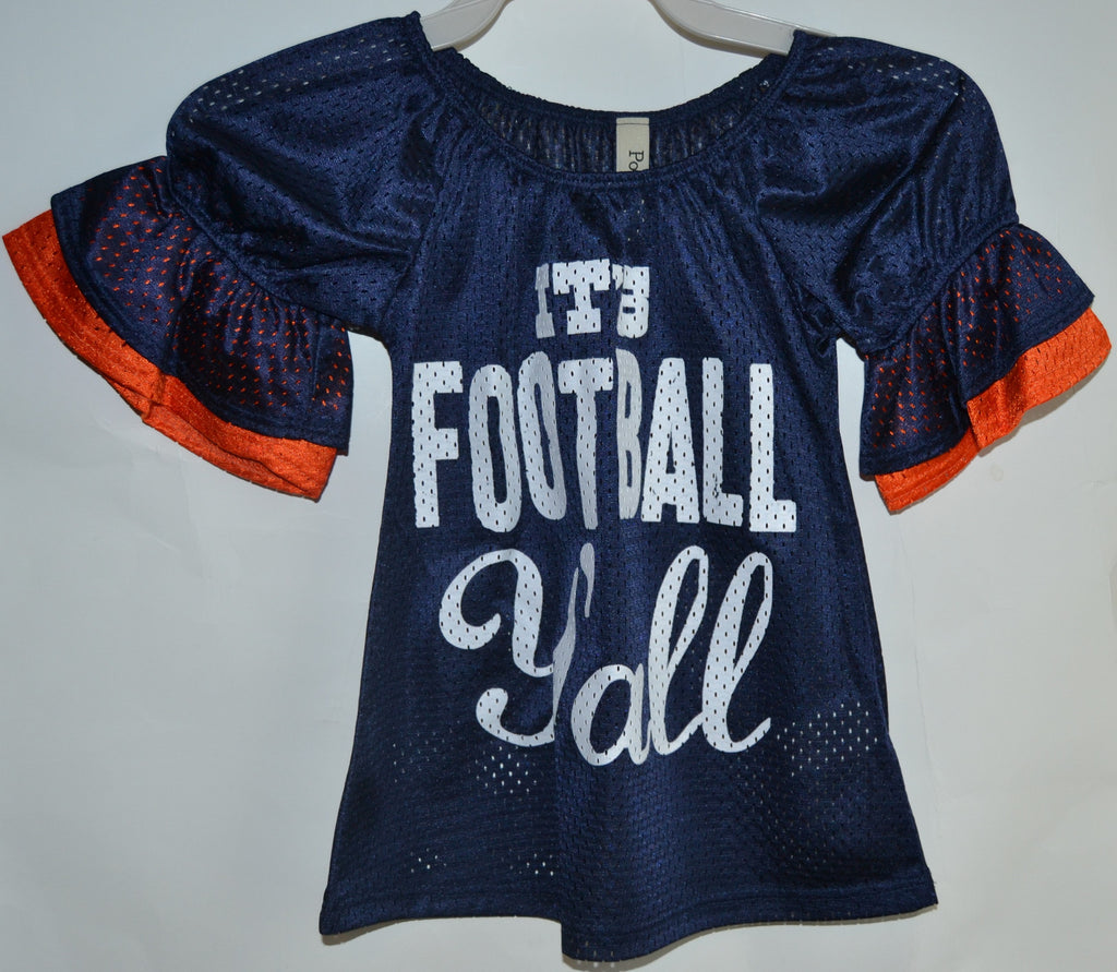 8a3d9491 Girl's It's Football Y'all Jersey with Bell Sleeves Game Day - Several –  T's Boutique & Diaper Cakes