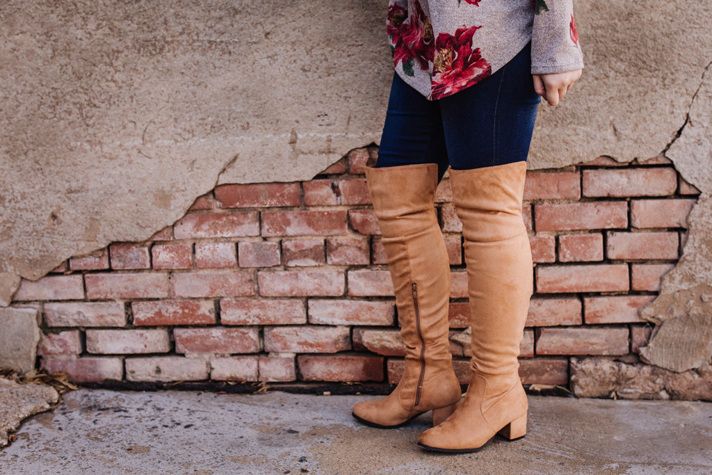 Tan Thigh High Heeled Boots