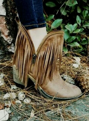All Zipped Up Fringe Booties with Zipper Detail