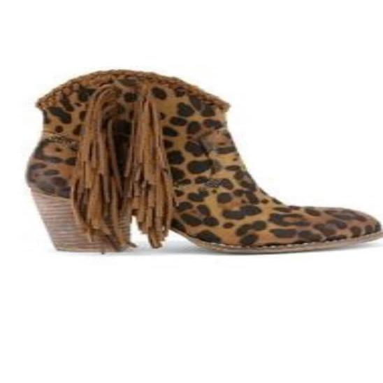 Marilyn Leopard Fringe Booties