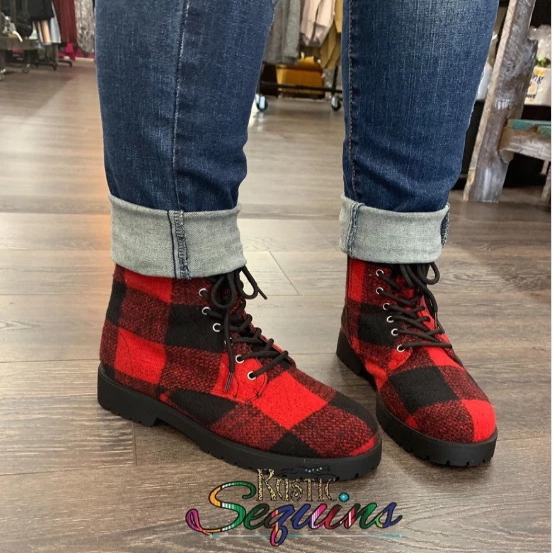 Red Buffalo Plaid Combat Boots