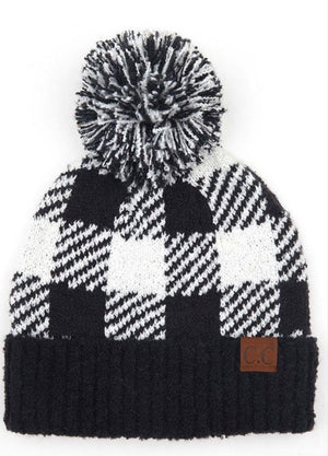 CC Buffalo Plaid Pom Beanies