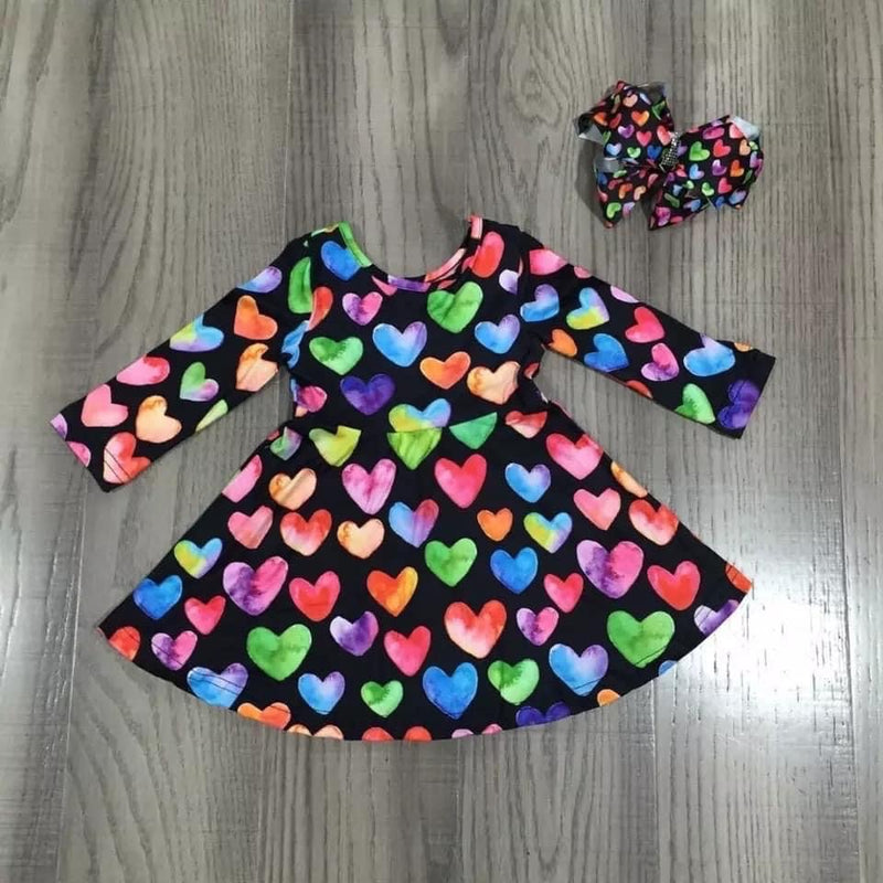 Colorful Heart Twirl Dress
