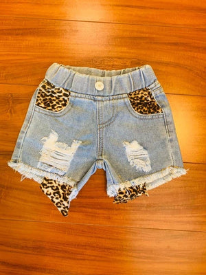 Peek A Boo Leopard Cut Off Shorts