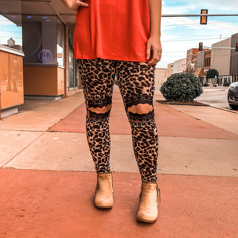 Leopard Lace Peek A Boo Knee Leggings