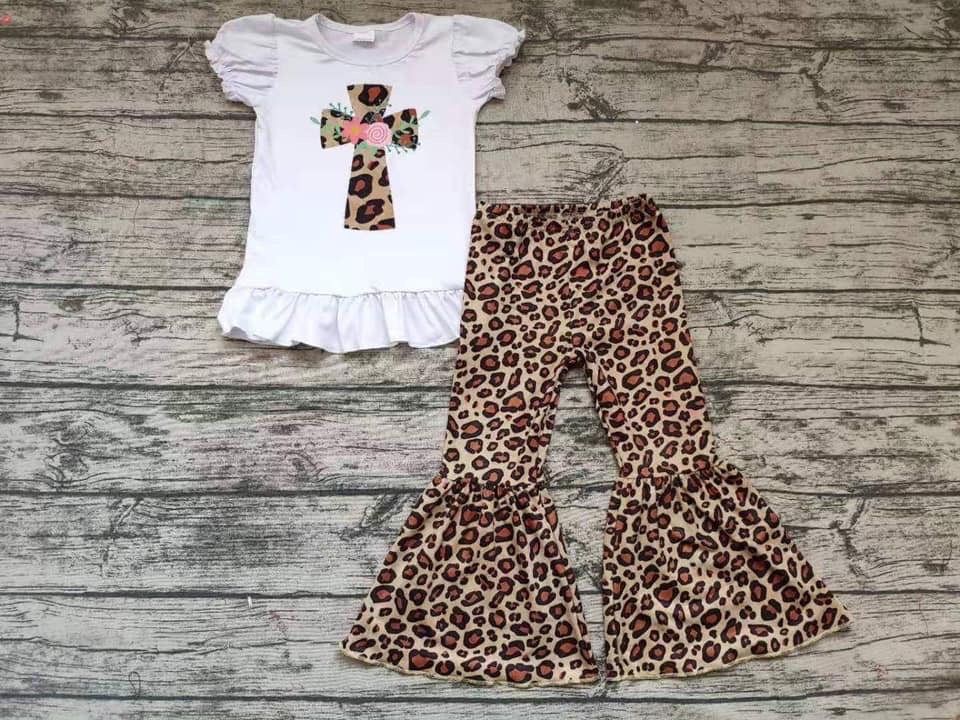 Leopard Cross Bell Bottom Outfit