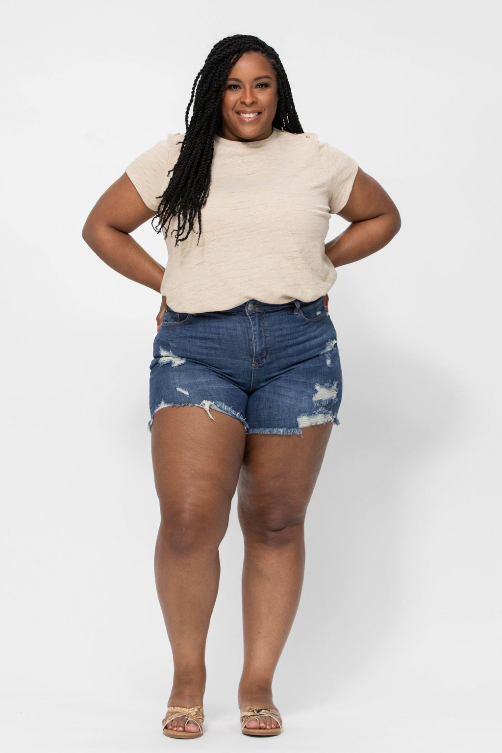 Mid-Rise Destroyed Cut-Off Shorts