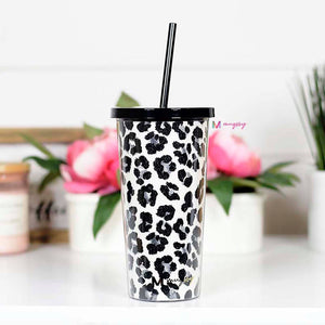 Snow Leopard Tumbler With Straw