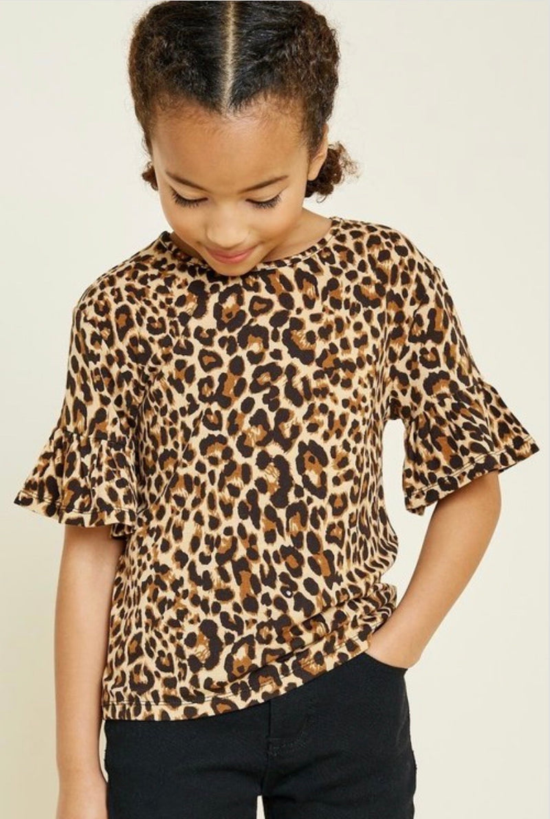 Girls Leopard Bell Sleeve Top