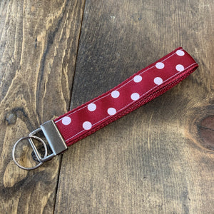 Crimson Polka Dot Key Fab Wrislet