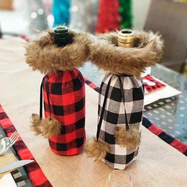 Buffalo Plaid Wine Holder Bags