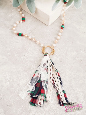 Season's Greetings Flannel Tassel Necklace
