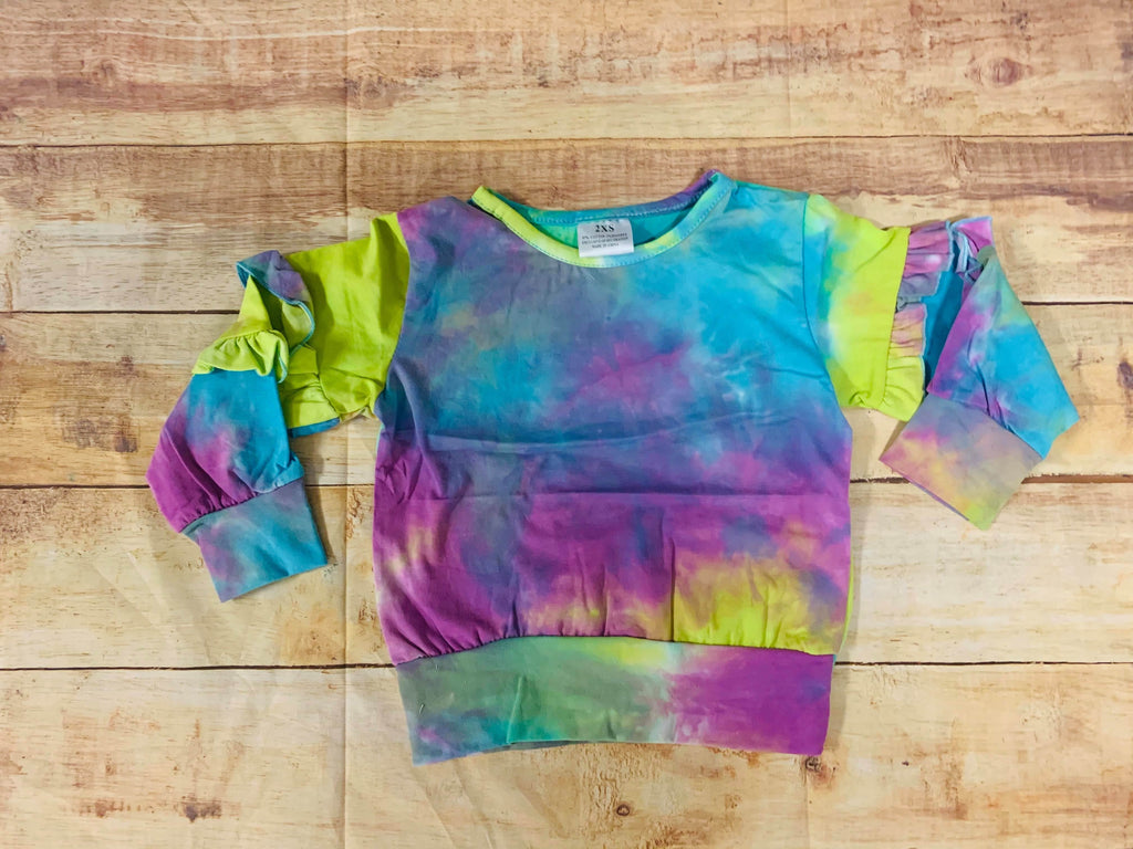 Purple and Lime Tie Dye Top