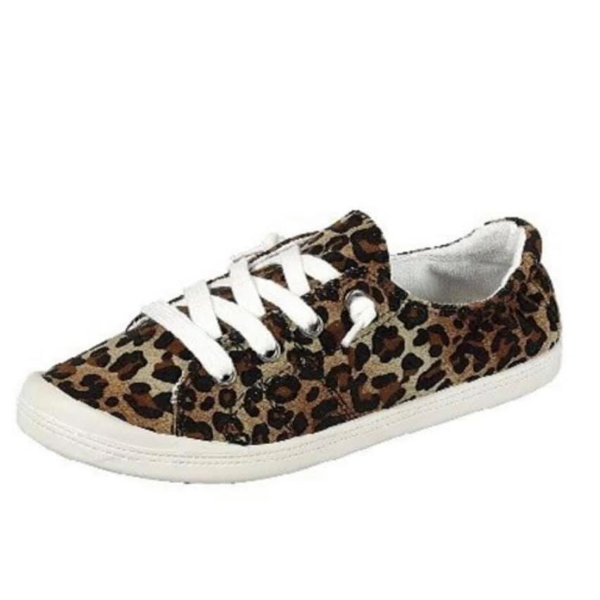 Leopard Lace Up Slip On Sneakers
