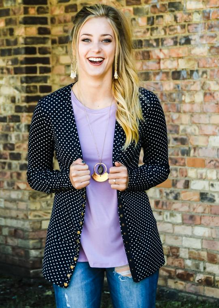 Navy Polka Dot Snap Cardigan